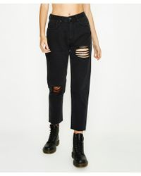 Neon Hart - Maggie Mom Jean Hectic Blow Out Washed Black - Lyst
