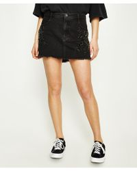 Free People - Shine Bright Shine Far Mini Black Skirt - Lyst