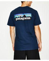 Patagonia - P-6 Logo Responsible T-shirt Navy - Lyst