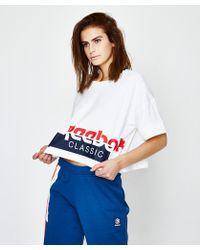 Reebok - Ac Cropped T-shirt White - Lyst
