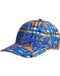 Burberry Graffiti Print Vintage Check Baseball Cap in Blue for Men ... 6415cf0be60b