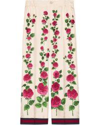 Gucci - Silk Twill Pyjama Trim Trousers - Lyst