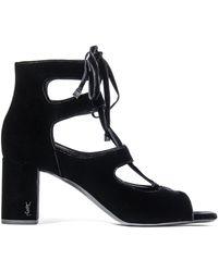 Saint Laurent - Loulou 70 Velvet Sandals - Lyst