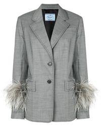 Prada - Ostrich Feather Cuff Jacket - Lyst