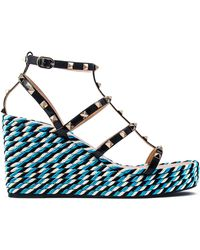 Valentino - Studded Wedge Sandals - Lyst