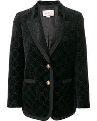 Gucci - Black Gg Velvet Two-button Jacket - Lyst