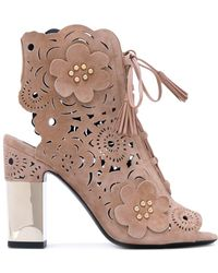 Roger Vivier - Podium Guipure Suede Ankle Boots - Lyst