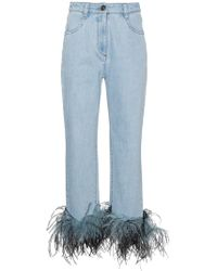 Prada - All Designer Products - Ostrich Feather Cuff Jeans - Lyst
