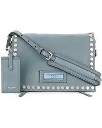 Prada - All Designer Products - Etiquette Small Studded Shoulder Bag - Lyst
