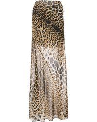 Saint Laurent - Leopard Printed Maxi Skirt - Lyst