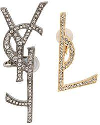 Saint Laurent | Logo Earring Set | Lyst