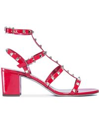 Valentino - Rockstud Patent Leather Sandals - Lyst