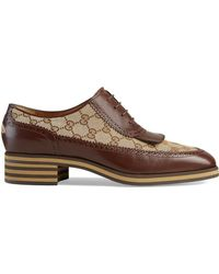 Gucci - Leather And GG Brogue Shoes - Lyst