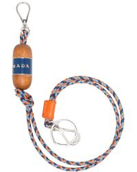 Prada - Multicoloured Wood And Leather Key Chain - Lyst