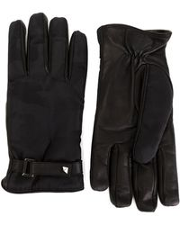 Valentino - Leather And Fabric Gloves - Lyst