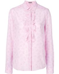 Bottega Veneta - Printed Ruffle Shirt - Lyst