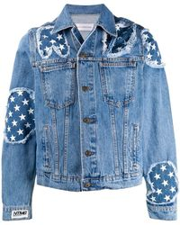 cf68275c5 Gucci Wool Bomber Jacket With Bees And Stars in Blue for Men - Lyst