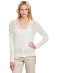 G.H. Bass & Co. - Lace Front V-neck Cardigan - Lyst