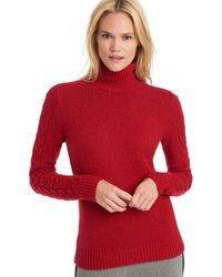 G.H. Bass & Co. - Cable Sleeve Turtle Neck Sweater - Lyst