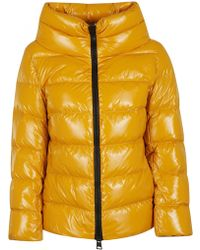 Herno - Yellow Cowl Neck Down Jacket - Lyst