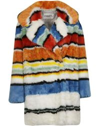 Essentiel - Multicoloured Fur Coat - Lyst