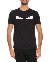 Fendi - Monster Eyes Chocker T-shirt In Cotton Jersey With Maxi-patches Eyes Bag Bugs - Lyst