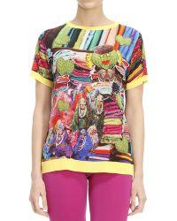 The Artistylist - T-shirt Mezza Manica Girocollo Seta Stampa Cactus - Lyst