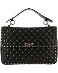 Valentino - Valentino Rockstud Spike Large Bag In Genuine Leather With Micro Studs And Sliding Shoulder Strap - Lyst