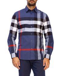 Burberry - Slim Macro Check Shirt - Lyst