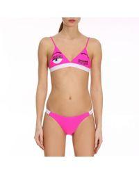 Chiara Ferragni - Flirting Triangle Bikini With Maxi Print Fluo Flirting Eyes - Lyst