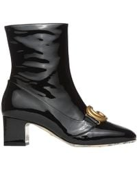 Gucci - Victoire Logo-embellished Patent-leather Ankle Boots - Lyst