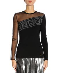 Versace - Womens Glitter Mesh Top - Online Exclusive Black - Lyst