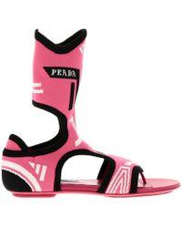 Prada - Jacquard Knit Sock Sandals - Lyst
