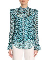 MICHAEL Michael Kors - Floral-print Ruffled Shirt - Lyst