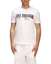 9e26665b30fe Lyst - Love Moschino Plain Badge T-shirt, Slim Fit White Tee in ...