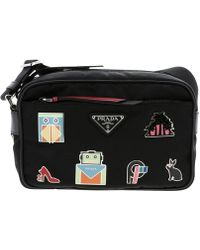 Prada - Camera Bag In Nylon And Leather With Maxi Applications By - Lyst