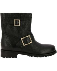 Jimmy Choo - Youth Biker Style Ankle Boots In Satined Leather With Maxi Metallic Buckles - Lyst