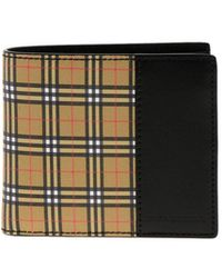 Burberry - Small Scale Check And Leather Bifold Wallet - Lyst