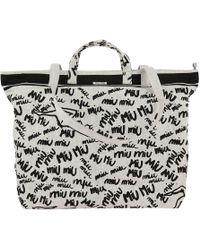 Miu Miu - Shopping Bag Print Canvas White - Lyst
