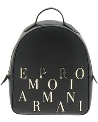 9540809d6e5b Emporio Armani Logo Embossed Backpack in Metallic - Lyst