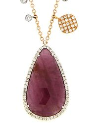 Meira T 14k Rose Gold 9.16 Ct. Tw. Diamond & Ruby Necklace - Multicolour