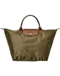 Longchamp Le Pliage Medium Nylon Short Handle Tote - Green