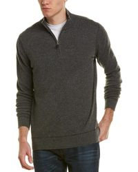 Forte - Coverstitch Quarter Zip Mock Cashmere Pullover - Lyst