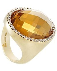 Roberto Coin - 18k 0.42 Ct. Tw. Diamond & Citrine Ring - Lyst
