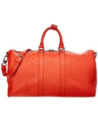 Louis Vuitton Red Damier Infini Leather Keepall 45 Bandouliere