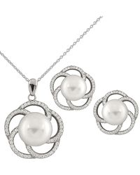 Splendid - Rhodium Plated Silver 9-12mm Freshwater Pearl Necklace & Earrings Set - Lyst