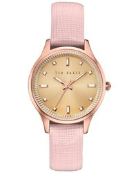 Ted Baker - Zoe Textured Leather Band Watch - Lyst