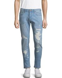 Armani Exchange - Distressed Cotton Jeans - Lyst