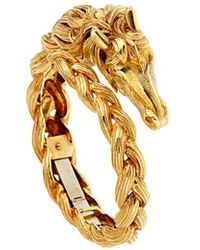 Hermes Vintage Hermes Horse Head Gold Bangle Bracelet - Metallic