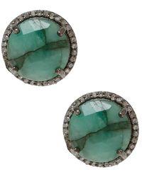 Adornia - Fine Jewellery Silver 8.54 Ct. Tw. Emerald Studs - Lyst
